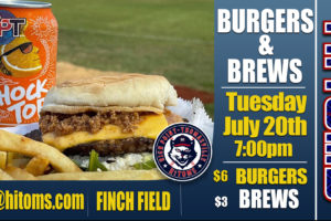 Enjoy Burgers, Brews, and Baseball on Tuesday at Finch Field!